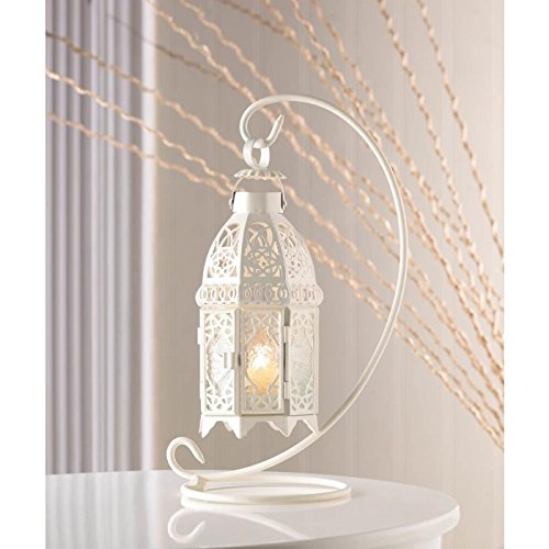 White Fancy Candle Lantern with Stand Colonial Design Pale Green Glass Panes