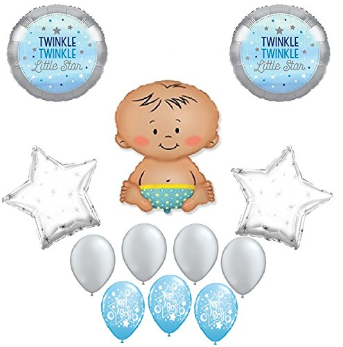 Twinkle Twinkle Little Star Boy Baby Shower Balloon Bouquet Decorating Kit 12 Piece Mylar and Latex Balloons Set -Plus (1) 66' (66 Foot) Roll of Curling Balloon Ribbon ()