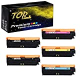 TopInk CE709A Toner Compatible for HP Color Laserjet Enterprise CP5525xh Printer Toner Cartridge, (2 Black,1 Cyan,1 Yellow,1 Magenta)-5 Pack