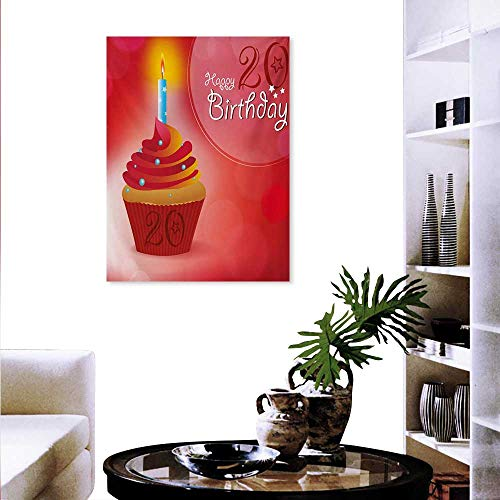 Mannwarehouse 20th Birthday Art-Canvas Prints Sweet 20 Themed Birthday Party Cupcake Beams Backdrop Print Print Paintings Home Wall Office Decor 16