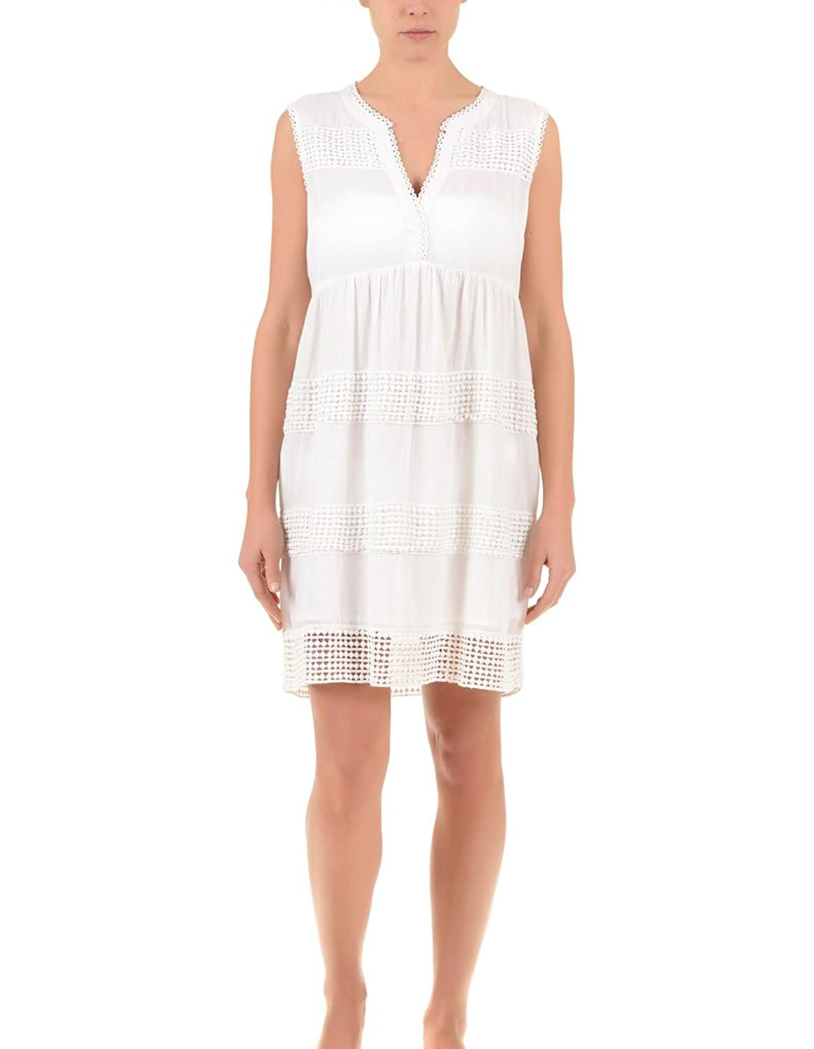 Iconique IC7-013 Women's White Embroidered Cotton Beach Dress