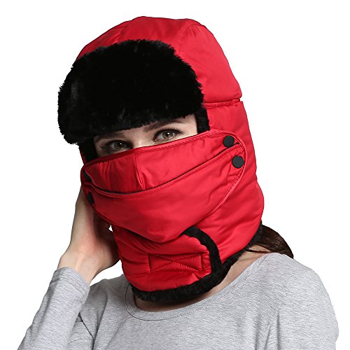 VEC Unisex Winter Trooper Trapper Hat Hunting Hat Ear Flap Chin Strap with Windproof Mask (Red)
