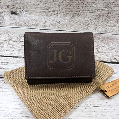 Brown Genuine Leather Tri Fold Personalized Mans Wallet Black -