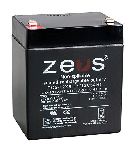 ZEUS PC5-12XBF1 Rechargeable Lead Acid Battery Black Case, 12V, 5 Amp