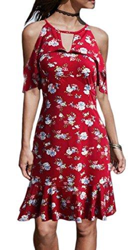 Cold Jaycargogo Casual Print 5 Floral Shoulder Dresses Summer s Women Mini wSf0qrSt