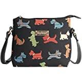 Black Scottie Dog Women's Fashion Tapestry Mini Satchel Cross-body Purse Bag with Adjustable Strap also as Small Shoulder Bag by Signare in Black (XB02-SCOT)