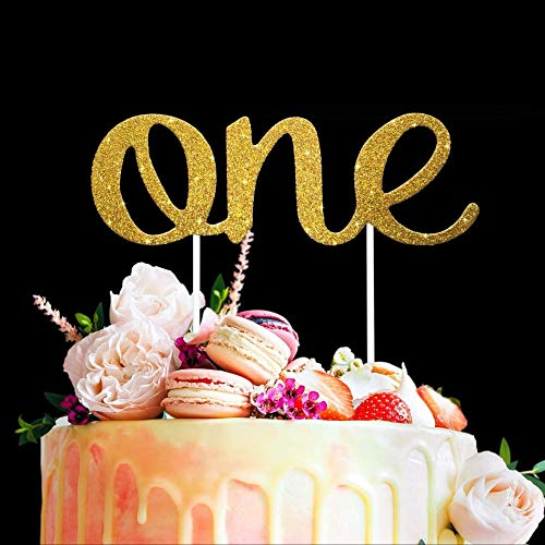 ONE Cake Topper - Stunning 1st Birthday Gold Party Decorations - Double-Sided Glitter - Great Cake Smash Photoshoot Prop. Ideal for Baby Boy, Baby Girl First Birthday