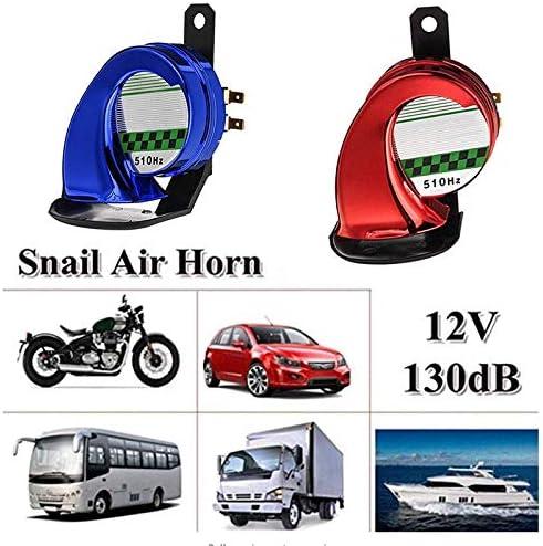 Nrpfell Universal DC130Db Snail Air Motorcycle Horn Siren Loud for Car Truck Motorbike Waterproof Blue