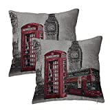 Queenie® - 2 Pc of Cushion Cover Decorative Throw Pillow Case Tapestry Polyester Pillowcase 18 X 18 Inch 45 X 45 Cm (London Bus & Telephone Booth)
