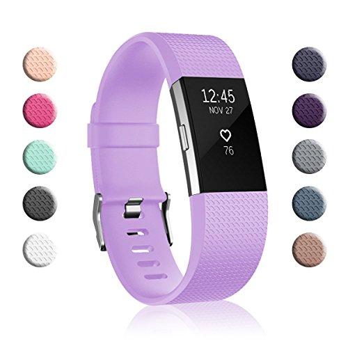 Fundro Replacement Bands Compatible with Fitbit Charge 2, Classic & Special Edition Adjustable Sport Wristbands (1-Pack Lavender, Small (5.5-6.7))