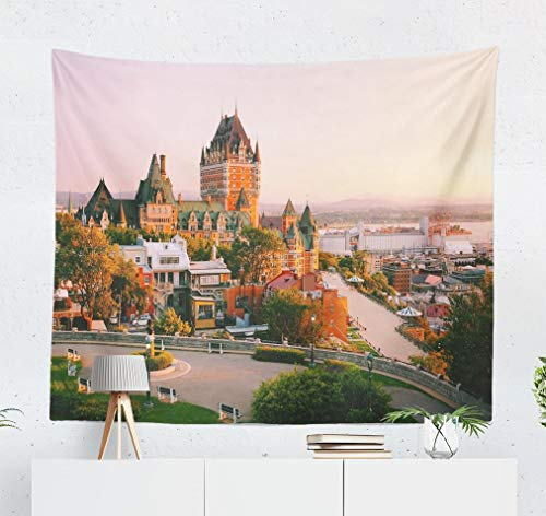 Deronge City Tapestry, Castle Old Quebec City Beautiful Sunrise Light Tapestry Wall Hanging Decor 50x60 Inch Wall Art Tapestry for Men Bedroom Decor Decorative Tapestry Dorm Decor,Castle Old Quebec
