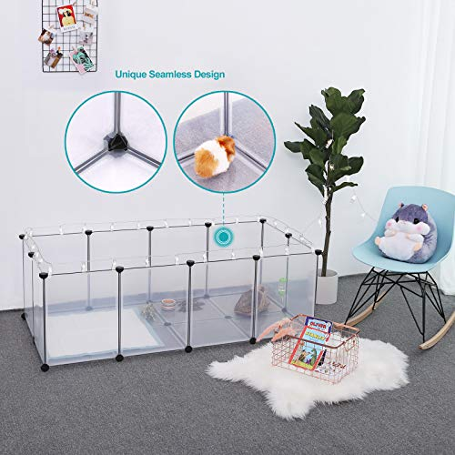 SONGMICS Pet Playpen,Fence Cage with Bottom for Small Animals Guinea Pigs, Hamsters, Bunnies,Rabbits, Pet Exercise Run and Crate, Transparent Plastic Panels, ULPC02W by SONGMICS (Image #1)
