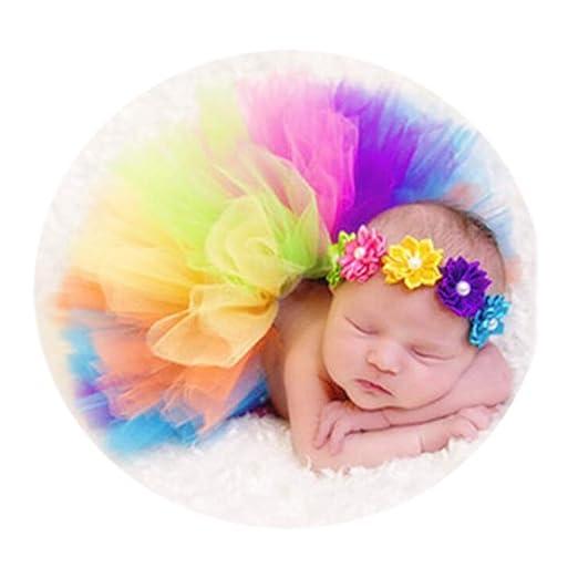 8deb9cf221b Newborn Girl Baby Photo Props Rainbow Photography Outfits Colorful Tutu  Skirt and Headband Set