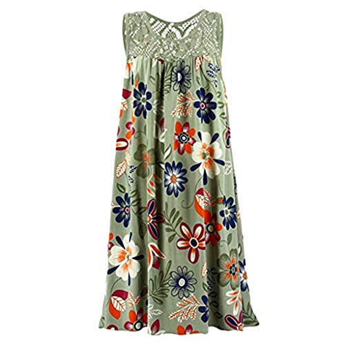 (Emimarol Women Dress Summer O Neck Sleeveless Dress Boho Laced Printed Dress Green)