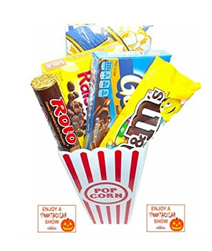 Spooktacular Movie Night Gift Basket ~ With Popcorn, Candy and 2 Free Redbox Movie Rentals (Goobers)