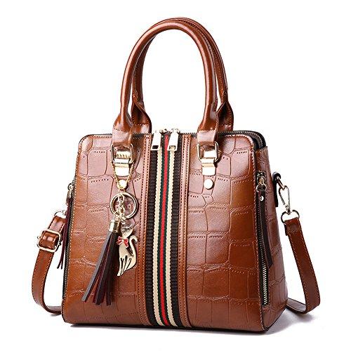 Gwqgz Nuevas Modas Señoras Bolsas De Hombro Bromeando Casual Bolsos Brown Brown