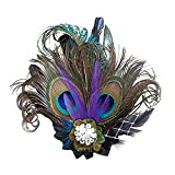 Hilary Ella Fascinator Peacock Feather Headdress Wedding Hair Clip