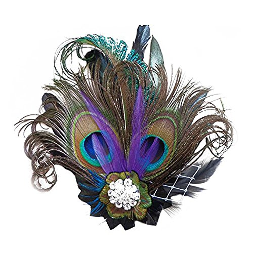 Hilary Ella Fascinator Peacock Feather Headdress Wedding Hair Clip by Hilary Ella
