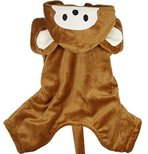 [ESINGYO Velvet Monkey Costume Hooded, for Small Dog Cat Puppy under 20 pounds, L] (20 Cat Costumes)