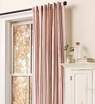 Amazon Com Ticking Stripe Curtain Panel In Natural Home