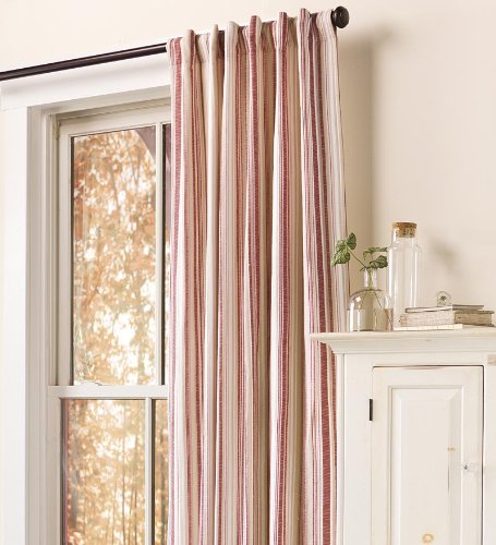 63″ Ticking Stripe Curtain Panel, in Red