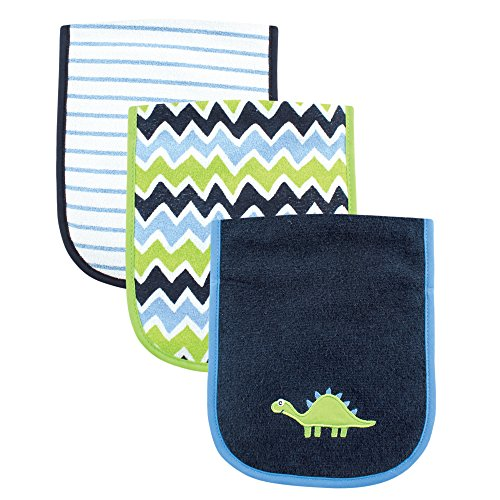 Luvable Friends 3 Piece Burp Cloth with Fiber Filling, Dinosaur -