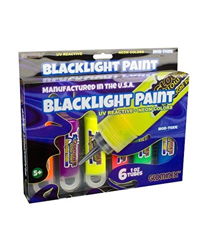 Glominex PG1T6R Blacklight UV Paint Assorted Tubes-6, 1 Ounce, 6ct