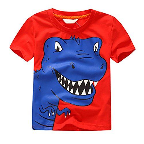 (Boys T-Shirt Tops,Sikye Kids Baby Character Print Lovely Dinasour Shorts O-Neck Sunsuit (Size:6T, Red))