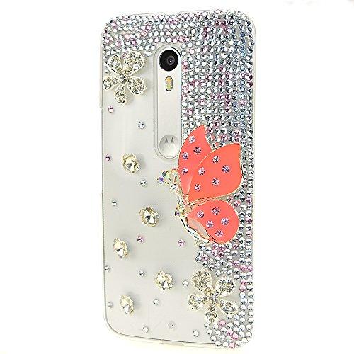 STENES Motorola Moto G4 / Moto G4 Plus Case - [Luxurious Series] 3D Handmade Shiny Crystal Bling Case With Retro Bowknot Anti Dust Plug - Snow Butterfly Fairy/Orange