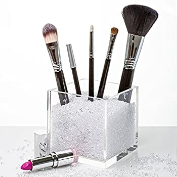 new acrylic makeup brush holder countertop cosmetic organizer with beautiful. Black Bedroom Furniture Sets. Home Design Ideas
