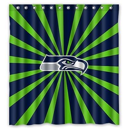 Custom NFL Seattle Seahawks Stripes Waterproof Polyester Shower Curtain 66x72