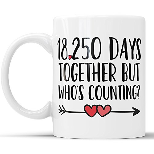 50th Anniversary Coffee Mug - 18250 Days Together But Who's Counting Funny Wedding Anniversary Gift, 50th year Anniversary Gifts, Jubilee Gift Cup (11 oz) ()