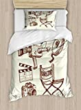 Ambesonne Movie Theater Twin Size Duvet Cover Set, Photography and Cinema Vintage Set in Sketch Art Style Director Shooting, Decorative 2 Piece Bedding Set with 1 Pillow Sham, Beige Brown
