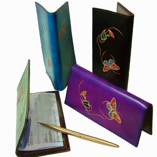 Cheque Book Cover Pattern : Leather check book cover a butterfly and flower patterns
