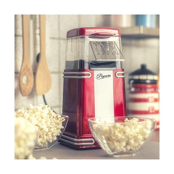 Gadgy ® Popcorn Machine | Retro Macchina Pop Corn Compatta | Aria Calda Senza Olio Grasso l Edizione Rossa Retrò 7