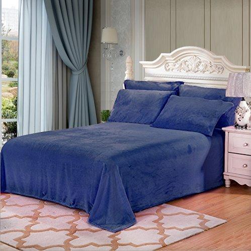 Jml Bedding Sheet 4 Pieces – Flannel Fleece Cozy Warm Super Soft Plush Sheet Set (Navy, King)