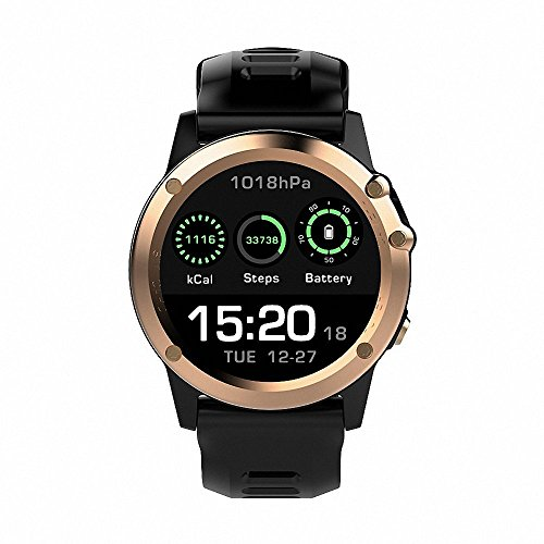 H1 Smart Watch Android 5.1 OS Smartwatch MTK6572 512MB RAM 4GB ROM GPS SIM 3G Heart Rate Monitor 5.0 M HD Camera IP68 Waterproof 30M Diving Sports Wristwatch (gold)