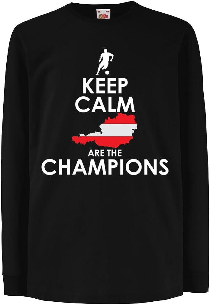 Kids Boys//Girls T-Shirt Keep Calm The Austria National Football Team is The Champion 5-6 Years Black Multi Color