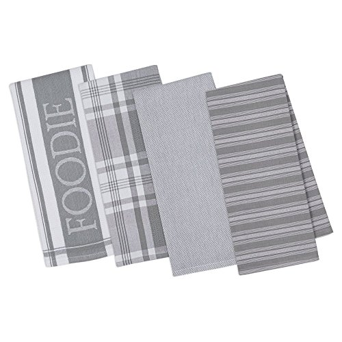 DII COS34210 Assorted Decorative Kitchen Towels & Dish Cloth Foodie Set, Ultra Absorbent for Washing and Drying, Dishtowels 18x28 & Dishcloth 13x13, Granite