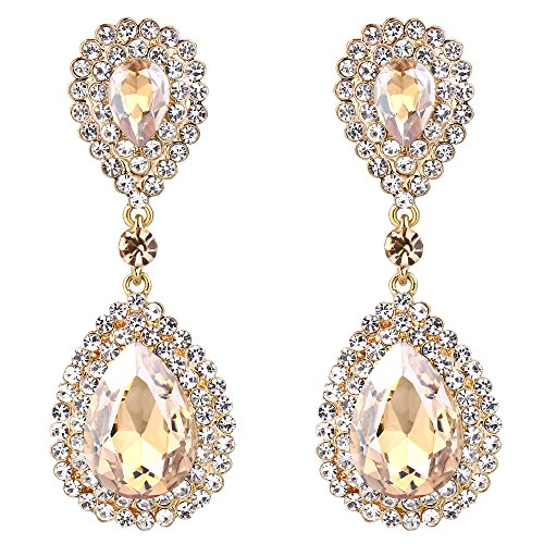 - BriLove Gold-Toned Dangle Earrings for Women Wedding Bridal Fashion Crystal Teardrop Infinity Earrings Champagne