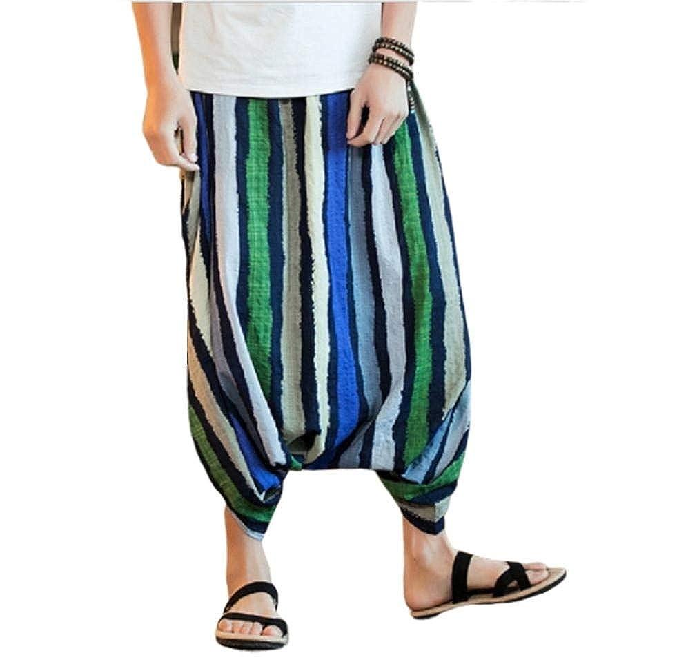 XiaoShop Mens Bechwear Elastic Waist Premium Select Flyaway Casual Pants