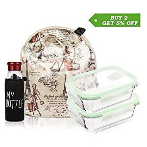BEW Glass Food Storage Containers with Locking Lids & Insulated Lunch Bag & Water Bottle, BPA-Free