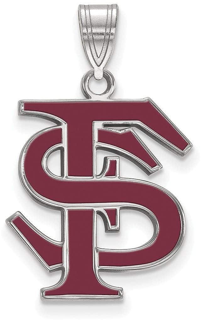 SS032FSU Sterling Silver Florida State University Large Enamel Pendant LogoArt