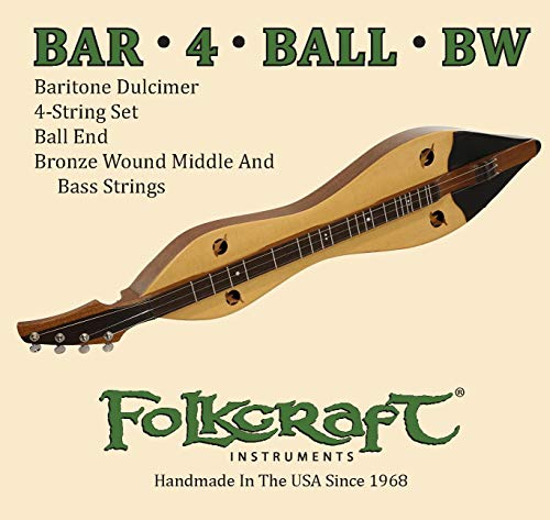 Folkcraft Mountain Dulcimer String Set, Baritone, Ball Ends (.014