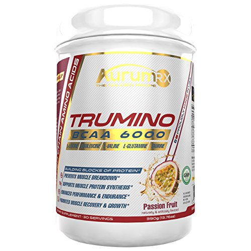 Cheap AurumRX TRUMINO Branched Chain Amino Acids for Endurance with Intra Workout Formula Taurine and Glutamine Nutrition BCAA Amino Acids Powder Passion Fruit 6000mg 3:1:1 (30 Servings) 390g (13.76oz)