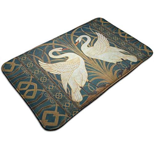 Jhgsjnsf Walter Crane Swan, Rush and Iris Art Nouveau Suede Door Mat Entrance Mat Floor Mat Rug Indoor/Outdoor/Front Door/Bathroom Mats Rubber Non Slip 19.7x31.5 Inches.