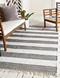 Unique Loom Chindi Rag Collection Hand Woven Striped Natural Fibers Gray Area Rug (5' x 8')