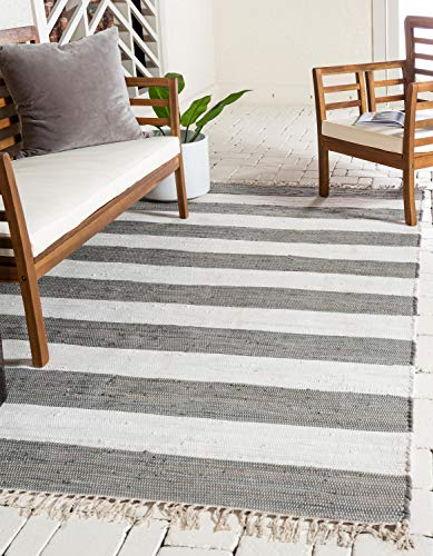 (Unique Loom Chindi Rag Collection Hand Woven Striped Natural Fibers Gray Area Rug (5' 0 x 8' 0))