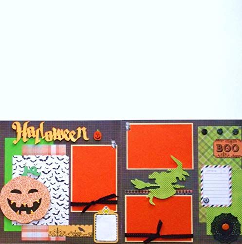 Halloween Pumpkin (2) Scrapbook Pages Premade with Journal Cards