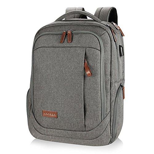 KROSER Laptop School Backpack 17.3in Water Resist, USB Charge Port Gray